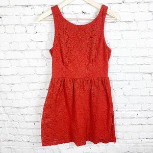 Mystic Tangerine Lacy Knee Length Dress